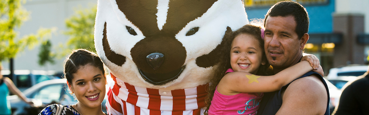 Bucky Badger visits with families