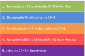 CANS LLEARNING AREAS: Introducting and explaining CAN to Families, Engaging the Family using Cans, collaborating with providers using the cans, Using the cans in a child and family team meeting, using the CANS in supervison