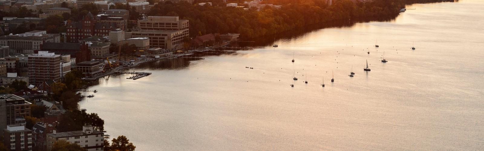 Aerial shot of Madison at sunset